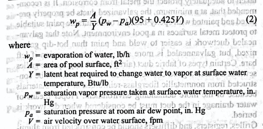 Evaporation equation, evaporation rate, pool evaporation