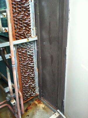 corroded coils, dehumidifier coils, rusty dehumidifier, rusty HVAC, HVAC rust, pool HVAC rust