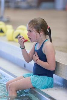 girl with inhaler, natatorium air quality, pool air