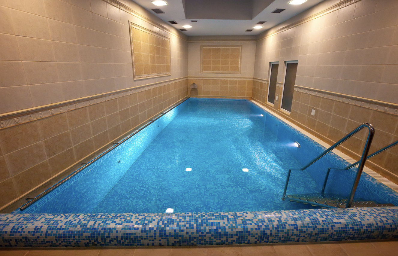 indoor residentail pool, canva stock image