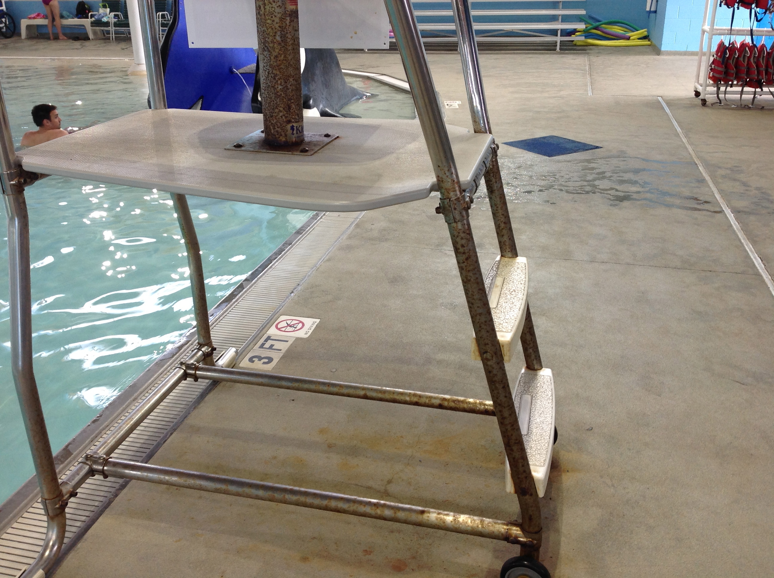 rusty lifeguard stand